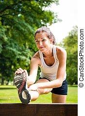 ausdehnen von übung, -, sport frau, draußen