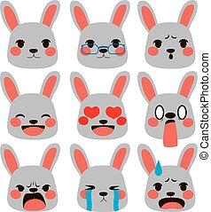 ausdrücke, kanninchen, emoji