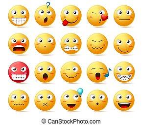 ausdruck, vektor, oder, gelber , emoticons, gesicht, set., verschieden, ikone, gesichtsbehandlung, smiley, emoji