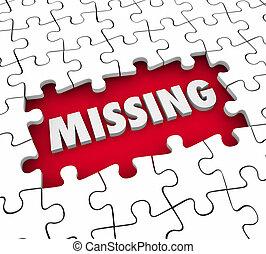 ausente, solucionar, solución, lacking, pedazos, rompecabezas, hallazgo, perdido, palabra, 3d