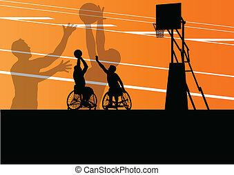 ausführlich, basketball, silhouette, rollstuhl, maenner, abbildung, behinderten, spieler, begriff, vektor, hintergrund, aktive, sport