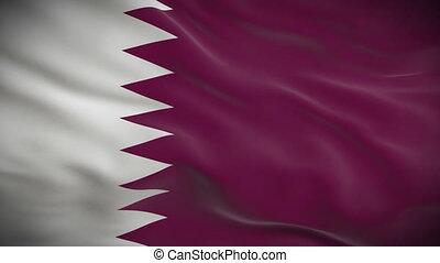 ausführlich, fahne, qatar, hoch