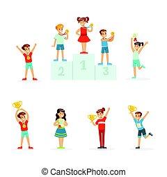 ausführlich, goldenes, satz, bunte, kinder, junger, etikett, ihr, besitz, siegerpokale, illustrationen, glücklich, karikatur, design.