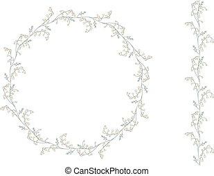 ausführlich, kontur, kranz, withlilies, von, der, tal, freigestellt, auf, white.