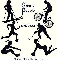 ausführlich, leute, sammlung, silhouetten, vektor, sport