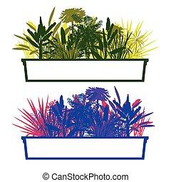 ausführlich, pflanze, begriff, blätter, silhouetten, vektor, dschungel, hintergrund, wald