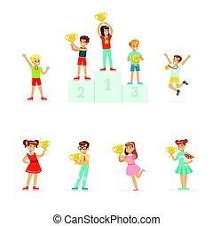 ausführlich, satz, bunte, knaben, gewinner, mädels, junger, etikett, ihr, feiern, tassen, illustrationen, lächeln, karikatur, medaillen, design.