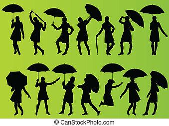 ausführlich, schirm, regenmantel, editable, abbildung, vektor, grün, sammlung, hintergrund, silhouette, m�dchen