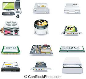 ausführlich, vektor, computerteile, ikone