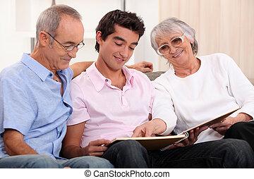ausgabe, großeltern, zeit, enkel, ihr