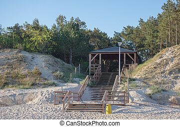 ausgang, sandstrand, -, meer, baltisch
