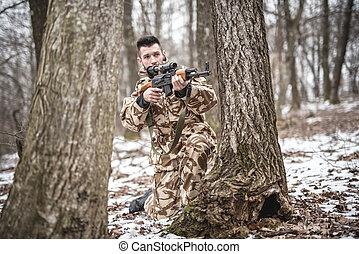 ausgebildet, kavallerist, verrichtung, militaer, betrieb, während, winter, kriegsbilder