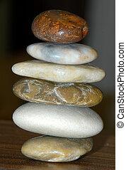 ausgeglichen, kieselsteine