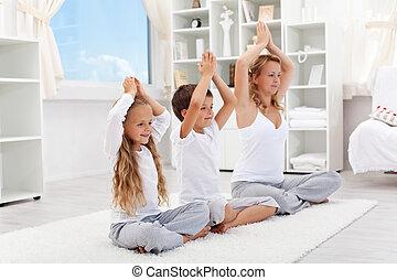 ausgeglichen, leben, -, frau, mit, kinder, machen, joga