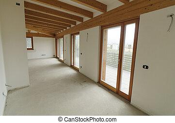 ausgesetzt, hölzern, balken, raum, groß, renovation:, daheim, rgeöffnete