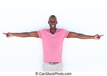 ausgestreckte arme, amerikanische , afrikanischer mann, glücklich