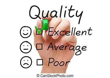 ausgezeichnet, qualität, auswertung