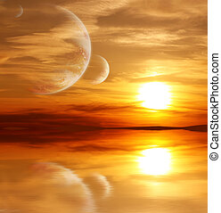 ausländer, planet, sonnenuntergang