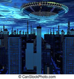 ausländer, ufo, schiff, in, zukunftsidee, landschaftsbild