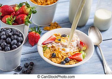 auslaufende milch, in, kornflakes, mit, früchte