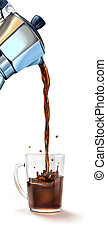 auslaufender kaffee, splashing., maschine, glasbecher, moka