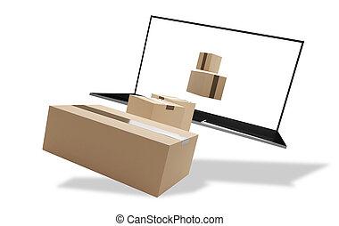 auslieferung, 3d-illustration, edv, pakete
