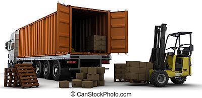 auslieferung, behälter, fracht, fahrzeug