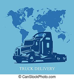 auslieferung, fracht lastwagen, halb