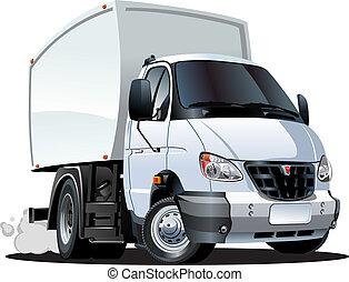 auslieferung, fracht lastwagen, karikatur, /