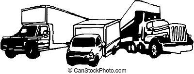 auslieferung, ladung, vektor, lastwagen, /