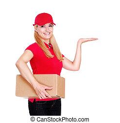 auslieferung, m�dchen, tragen, rote uniform, präsentieren, handfläche