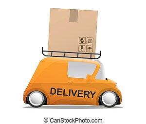 auslieferung, orange, mini, karikatur, auto, mit, a, kasten