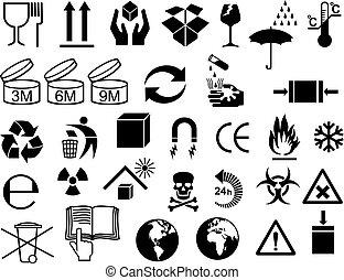 auslieferung, paket, icons), (cardboard, vektor, symbole