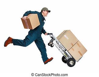 auslieferung, postman., rennender
