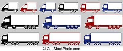 auslieferung, satz, bunte, lastwagen