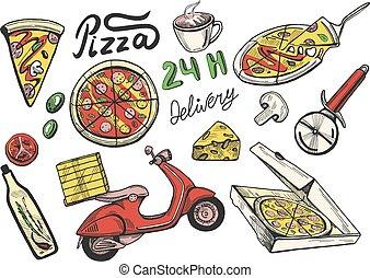 auslieferung, satz, pizza, heiligenbilder