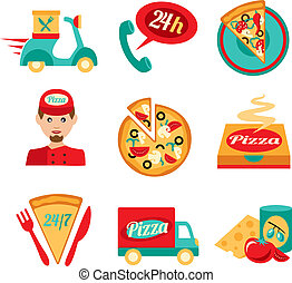 auslieferung, satz, pizza, schnell, heiligenbilder
