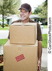 auslieferung, trägt, pakete, mann