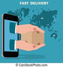 auslieferung, wohnung, design, schnell, service