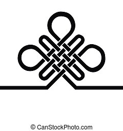 Auspicious Endless knot.Buddhist symbol.Black template -...