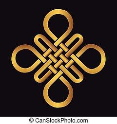 Auspicious Endless knot.Buddhist symbol.Gold - Endless...