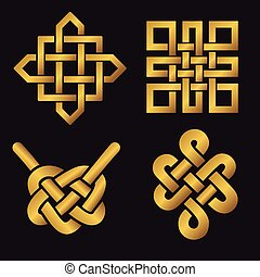 Auspicious Endless knots set. Buddhist symbol. Gold - ...