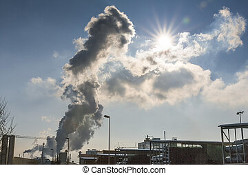 auspuff, industrieller schornstein, gase