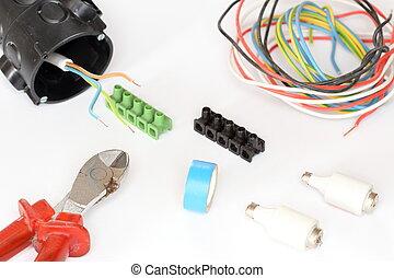 ausrüstung, draht, werkzeuge, elektrisch