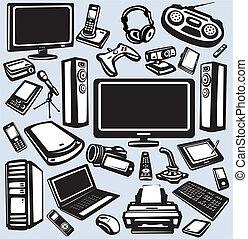 ausrüstung, elektronik, satz, ikone, computer