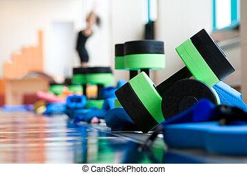 ausrüstung, für, aqua, aerobik