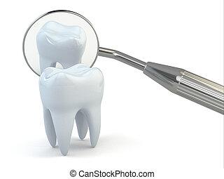 ausrüstung, hintergrund., dental, weißer zahn