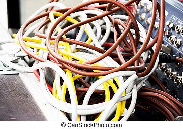 ausrüstung, konsole, kabel, musik