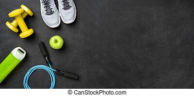 ausrüstung, kopie, hintergrund, fitness, dunkel, raum
