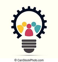 ausrüstung, leute, licht, gemeinschaftsarbeit, versammlung, ikone, zwiebel, logo.